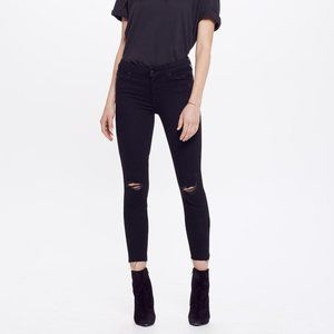 Mother Black High Waisted Locker Ankle Fray Jeans
